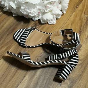 Lane Bryant  Contrasting Striped Strappy Heels